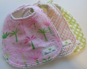 Baby Girl Bibs - Set of 3 - Preppy Girl Collection - Pink and Green