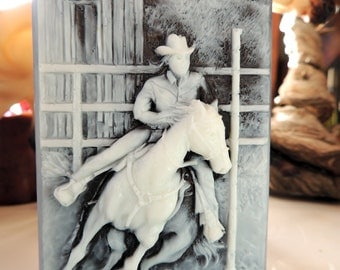 HORSE SOAP, Pole Bending Rider Horse Soap Rodeo Soap, Handmade, Vegetable Based, Scented in Pine Berry
