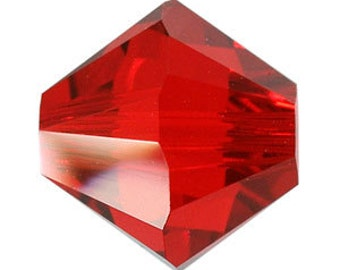 30  Crystal Beads Swarovski Bicone Beads Siam Red 4mm Small Glass Crystal Beads Accent Charm Beads Birthstone July