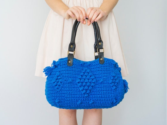 BAG // Blue Bag Blue Crochet Handbag  Wnter Bag Genuine Leather Straps / Black Handles
