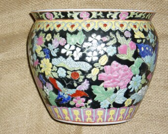 Chinese Jardiniere, Famille Noire, Floral and Butterflies, Enameled Hand-Painted
