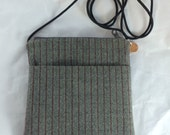 Small Gray Tweed Pouch Purse Made Using Recycled Women's Slacks Crossover Bag Upcycled Clothing