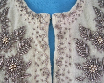 Beaded Sweater - Hand Beaded with Bronze Beads - Beaded Cardigan - Not Just Another  Beaded Sweater