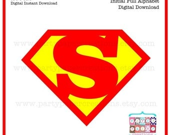 Superhero Digital Alphabet - Cartoon Super hero Monogram Initial Alphabet Instant Download