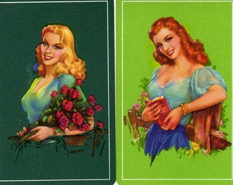Vintage Single Swap Playing Cards (1 pair)   Paper Epherema Scrapbook Collectibles Pinup Girl Playing Cards