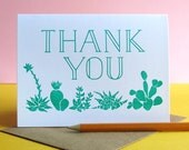 Succulents & Cactus Thank You // Letterpress Printed Card