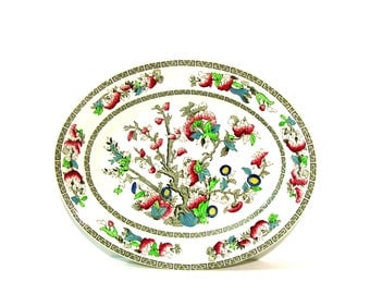 Vintage Serving Platter Indian Tree Johnson Bros Oval 12 in Floral Plates Mid century Dinnerware