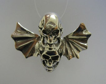 PE000794 Sterling Silver Biker Pendant Solid 925 Flying Two Sculls Wings