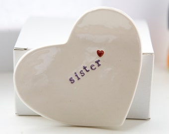 Gift for Sister Ceramic Ring Dish Heart Jewelry Catcher Unique Gift For Sister
