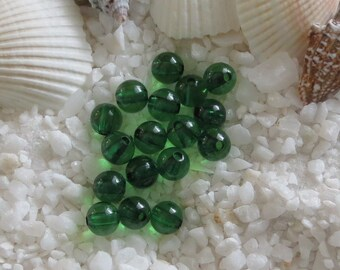 Acrylic Beads - Transparent Smooth Round - 6mm - Green - 200pcs