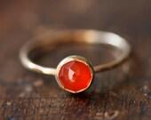 Delicate gold ring, orange carnelian, rose cut, thin stacking ring, orange gemstone, solid 14k gold ring, thin gold band