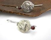 Pegasus sterling silver earrings, dangle coin earrings, natural garnet stone  handmade jewelry antique style, greek mythology, greek jewelry