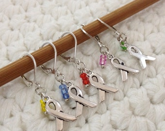Removable Stitch Markers Awareness Ribbons - 5 Stitch Markers for Crochet and Knitting