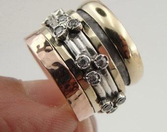 Fabulous Handmade 9K  Gold Silver Swivel Ring Size 8 (I r789G)