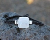 White Dichroic and Black Hemp Bracelet