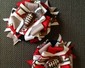Set of 2 Tampa Bay Buccaneers football ribbon rosette hair bow