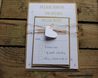 Wedding Invitation // Wood Grain Texture // Rustic & Modern // Outdoor or Country Wedding // Set of 100