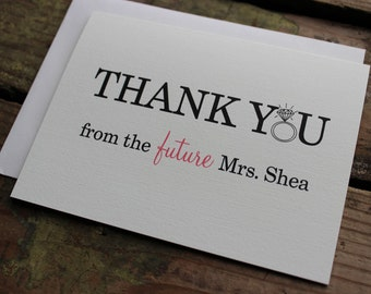 Thank You from the Future Mrs. Cards with Envelopes - Chic, Wedding, From the Future Mrs. in Cream / Bridal Shower Gift / Custom / Set of 10