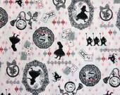 RESERVED for Kasey - Alice in Wonderland Fabric- Half Yard, Silhouette Alice World, Pink, Diamond, Cheshire cat white rabbit kawaii Japan