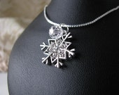 Frozen Winter Theme Silver Snowflake SwarovskiFaceted Crystal Wedding Bridesmaid Bridal Party Chain Necklace