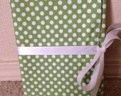 Green Polka Dots Personal Progress Book Organizer with Geometric Yellow Green Blue Lining Fabric