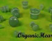 "Green Jade Single Flare Stone Plugs 8g-1/2"" (Sold as Pair) Handmade Body Jewelry Organic Plugs (8g, 6g,4g, 2g, 0g, 00g, 1/2"")"