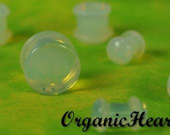 "Opalite Single Flare Stone Plugs 8g-1/2"" (Sold as Pair) Handmade Body Jewelry Organic Plugs (8g, 6g,4g, 2g, 0g, 00g, 1/2"")"