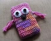 SALE 50 % OFF Pink Owl crochet iPhone, iPod, cell phone case