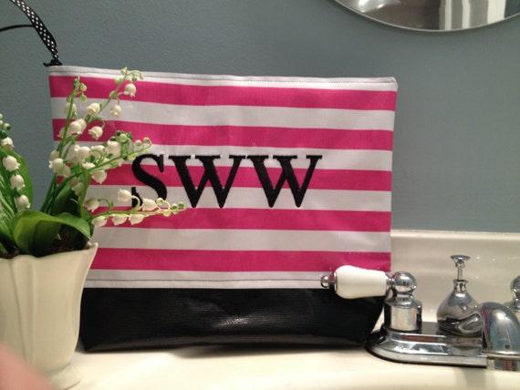 Bag large cosmetic bag monogrammed cosmetic bag pink bag oilcloth