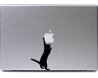 Macbook - Cat grabbing apple logo - funny car truck sticker cute puppy dog bumper sticker decal