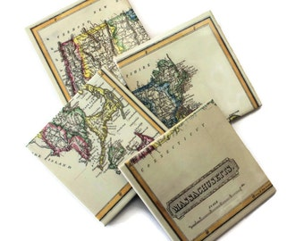 Vintage Map Coasters_Massachusetts State Map_Tile Coaster Set_Personalized Hostess Gift_Wedding Favor_Coworker gift_for him