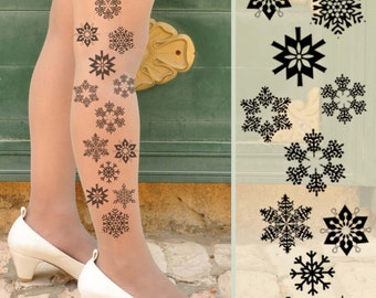 SNOWFLAKES Tights -  in colors white,beige,beige footless,blue,gray