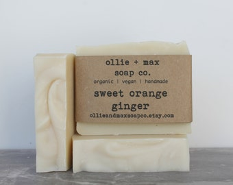 Sweet Orange and Ginger Organic Soap, Vegan Soap, Cold Process Soap, Hand Made Soap, Essential Oil Soap