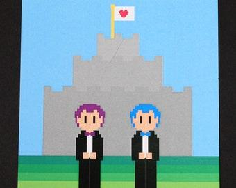 Gay Video Game Wedding Invitation- Postcard Style, 8-bit wedding invitation, Gay Wedding Invitation, Nerd Wedding Invitation, Recycled Paper
