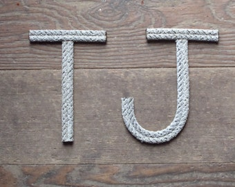8 INCH Rope Letters Custom Upcycled Rope Nautical Decor Great For Nursery or Weddings