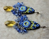 Stunning Blue and Yellow Floral Polymer Clay Applique Earrings with Swarovski Crystals and Czech Briolette