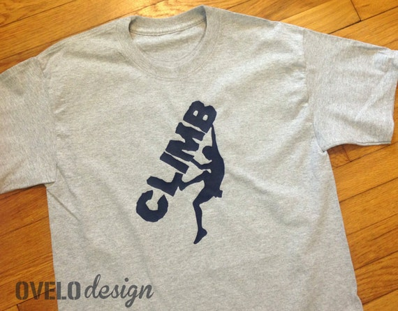 Rock Climber Adult Men's T-shirt Pictured in Heather Grey printed in Navy Blue