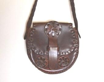 Leather Shoulder Bag - 1960s Dark Brown Messenger Bag - Vintage Hippie Boho Handbag Purse