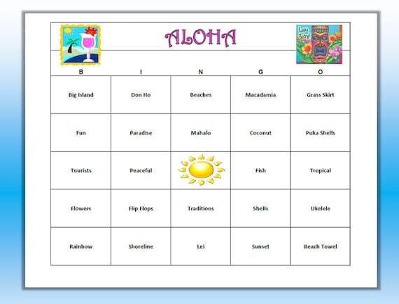 Aloha Luau Hawaiian Party Bingo Game 60 By Buymesomehappiness