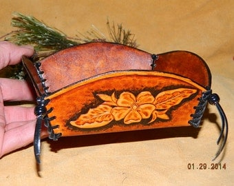 Hand Made Leather Box Tray Sheridan Floral Style Tooling Leather Hand Crafted & Laced Open Topped Box Catch All Key Knick Knack Box