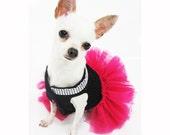 Pink Dog Clothes XXS Black Pet Costumes Teacup Chihuahua Tutu Dresses Bling-bling Handmade Crochet DF12 Myknitt Designer Dog - Free shipping