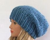 Chunky Knit Sky Blue Slouchy Beret Hat