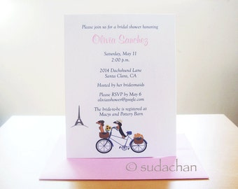 Dachshunds on Bicycle in Paris Bridal Shower. Engagement. Anniversary. Wedding Invitations (Set of 10)