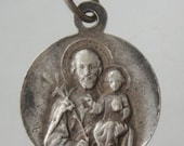 Saint Joseph with Infant Jesus Vintage Religious Medal on 18 inch sterling silver rolo chain