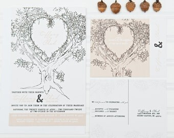 Oak Tree Wedding Invitations, Personalized Invite Suite with RSVP cards and address labels, Tan and Black