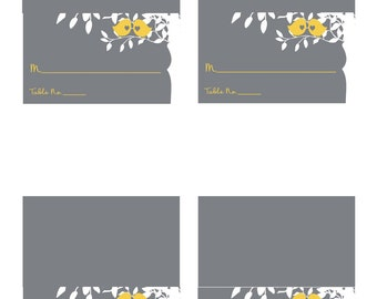 Digital Yellow and Gray Love Birds Tented Place Cards