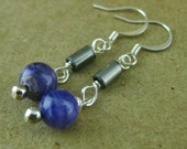 Bicycle chain pin and purple agate dangle earrings