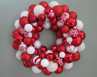 PEPPERMINT Wreath Christmas Wreath- seen in SOUTHERN LIVING Ornament Wreath 3-14