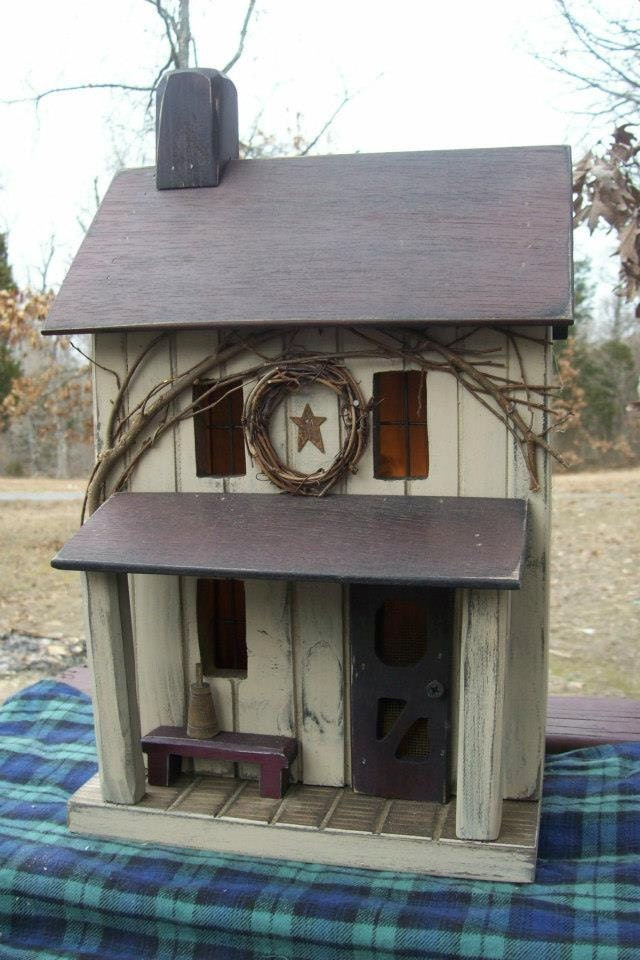Farmhouse Primitive Birdhouse Rustic Birdhouse Amish