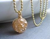 Druzy Wire Wrapped Pendant Necklace, Peach Bezel Druzy Necklace in Gold Fill, Champagne Druzy Quartz Jewelry